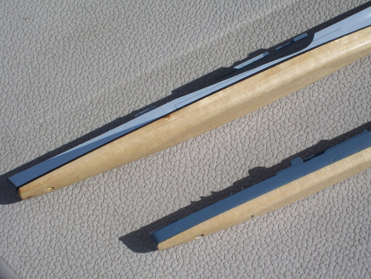 090307 Basswood bottoms for USS San Juan (CL-54) and Skywave Fletcher.  Coated with spray varnish (clear gloss).
