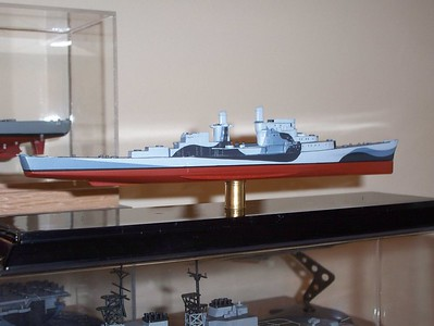 090328 USS San Juan (Skywave Atlanta class) displaying her basswood undersides.  Needs running gear (next rainy day project).