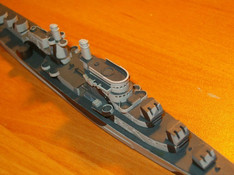 060927 USS San Juan (1/700 Skywave Atlanta).  Corrected, narrower flying bridge in paint.  Needs cleanup.