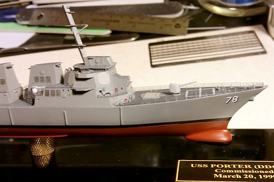 170121 DDG78 Advanced construction.  Fo'c'sle railings are by Voyager Model. Kit decals except for hull numbers and name on stern.