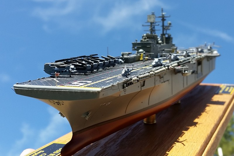160307: LHD-5 progress shot with airwing onboard. Aircraft are secured with a tiny drop of PVA glue on the main mounts.