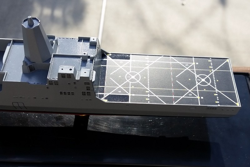 151212: LPD-17 after initial decal application.  One-piece flight deck decal went on perfectly!