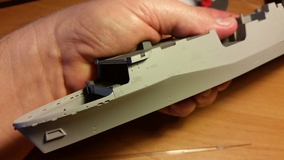 141207: LPD-17 Initial assembly.  Fit is excellent, expecially along the complex hull knuckle.
