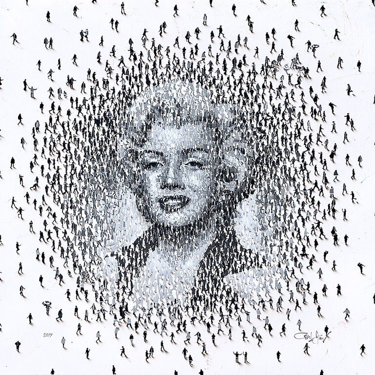 """Marilyn, Mass Populus-Alan, 30""""X30"""" painting on canvas"""