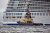 Tug 'Anglegarth' assists 'Marina' to berth at Greenock Ocean Terminal - 27 July 2015