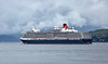 'Queen Elizabeth' Departing  Greenock in the Evening Mist - 9 July 2017