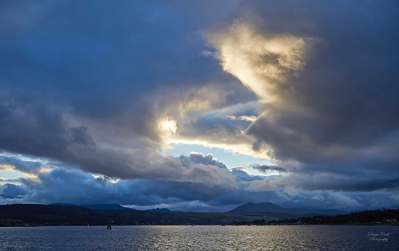Dramatic Sky approaching Helensburgh on PS Waverley Cruise - 3 August 2017