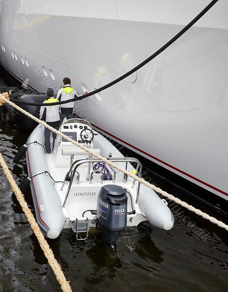 Inspecting the Superyacht Hampshire II in James Watt Dock - 17 April 2014