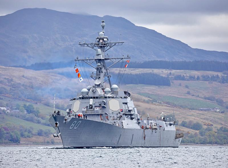 USS Roosevelt (DDG-80) at Rhu Spit - 8 May 2019