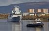 KNM Thor Heyerdahl and Bruiser (F314) passing Braehead - 11 April 2014