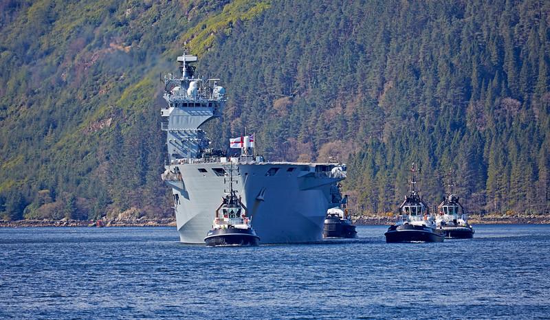 HMS Ocean approaching Glen Mallan - 25 April 2015