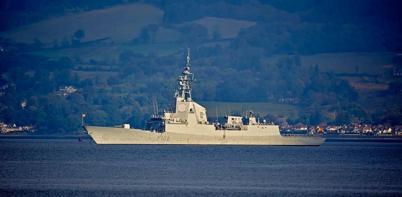 SPS Almirante Juan de Borbon (F102) at Anchor near Faslane - 2 October 2015