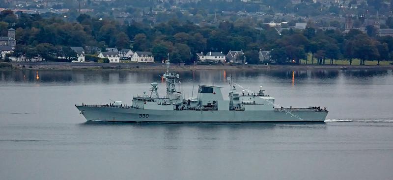 HMCS Halifax (FFH 330) passing Langbank - 4 October 2015