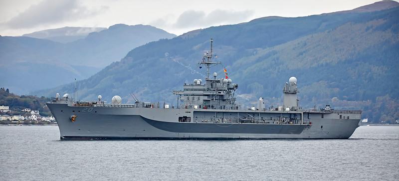 USS Mount Whitney (LCC 20) departing Loch Long - 19 October 2015