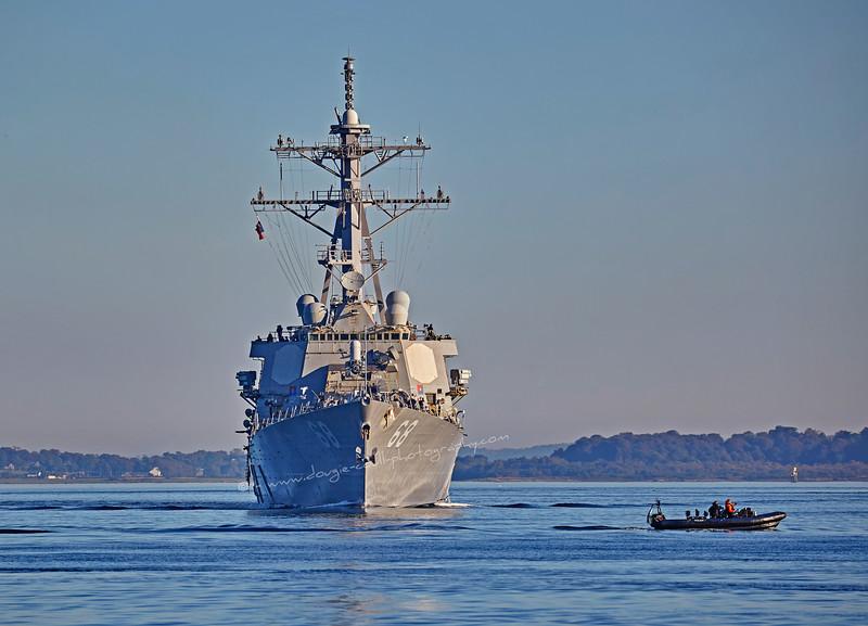 USS The Sullivans (DDG68) approaching Rhu Spit - 1 October 2015
