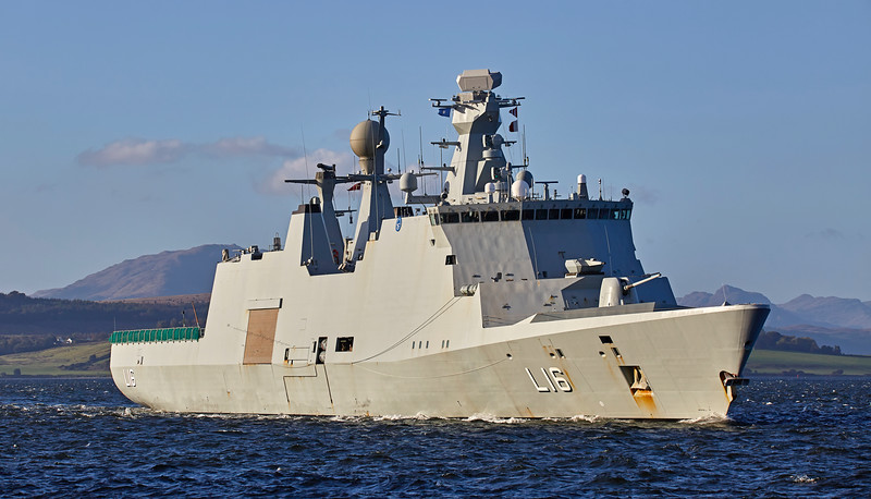 HDMS Absalon (L16) passing Custom House Quay - 6 October 2016