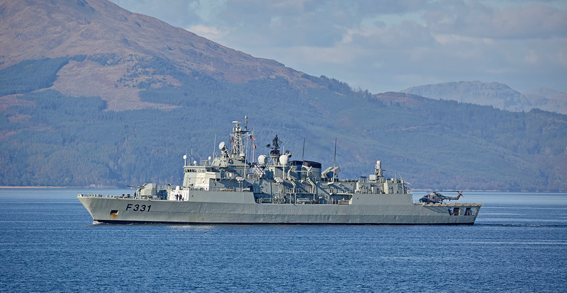 NRP Alvares Cabral (F331) approaching Cloch Point, Gourock - 9 October 2016