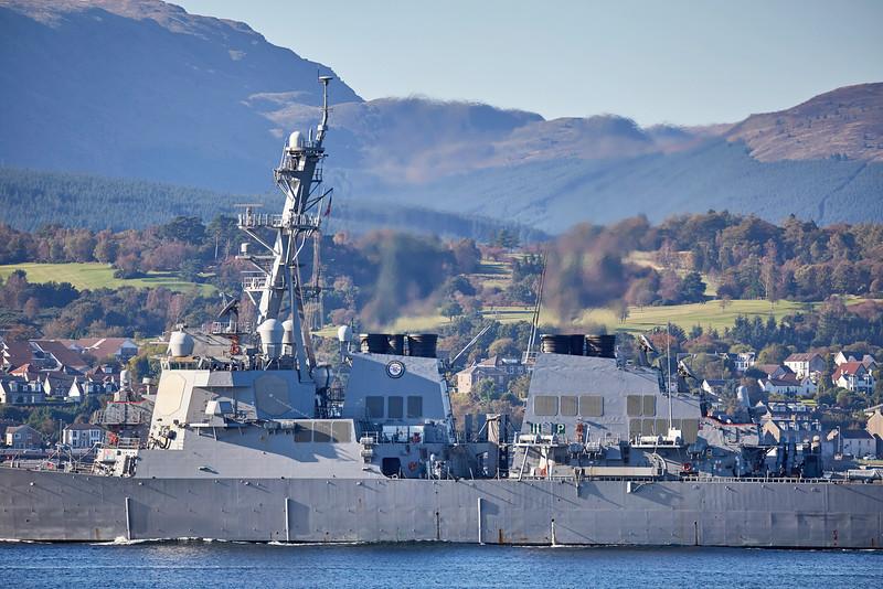 USS Porter (DDG78) at Cloch Lighthouse, Gourock - 9 October 2016