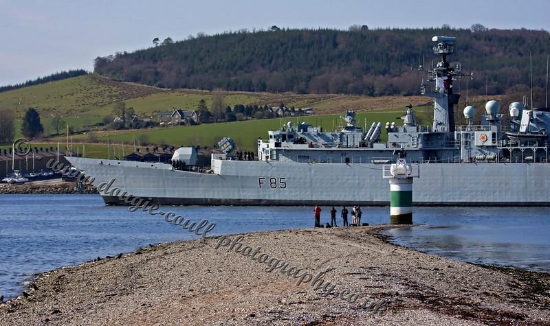HMS Cumberland Slides Past the Rhu Narrows, Faslane