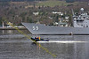 USS Kauffman with MOD Rib at Faslane