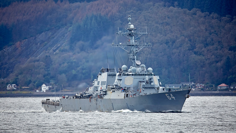 USS Carney (DDG75) at Coch Lightouse - 22 March 2017