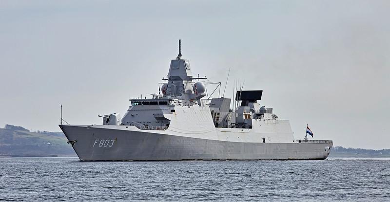 'HNLMS Tromp' (F803) passing Rhu Spit - 24 March 2017