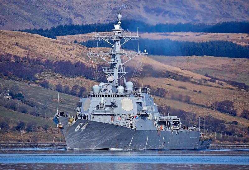 USS Carney (DDG75) at Rhu - 26 March 2017