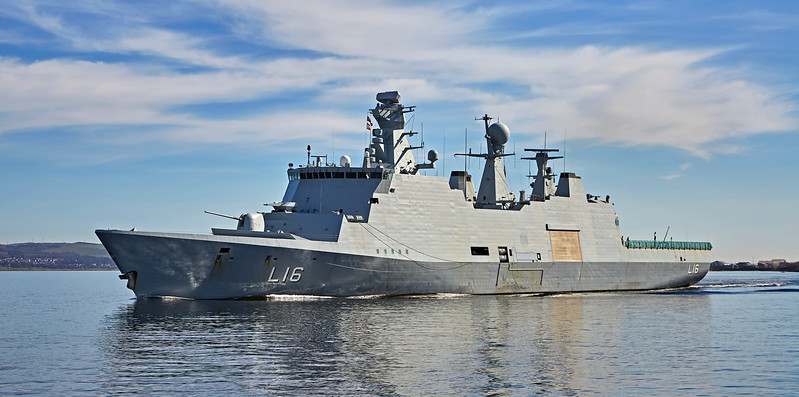 HDMS Absalon (L16) passing Custom House Quay - 26 March 2017