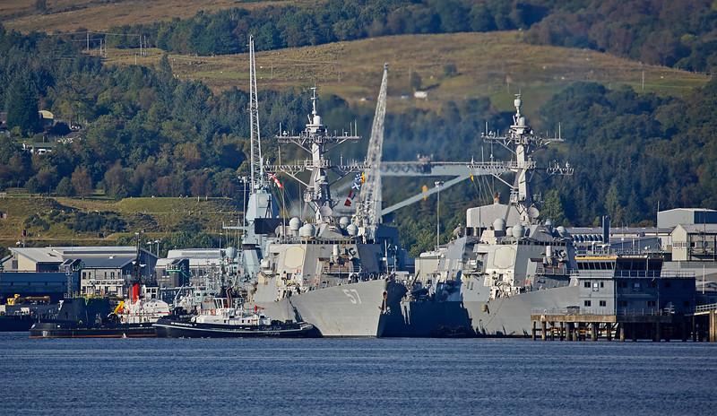 USS Mitscher (DDG-57) and USS Winston S Churchill (DDG-81) at Faslane - 21 September 2017