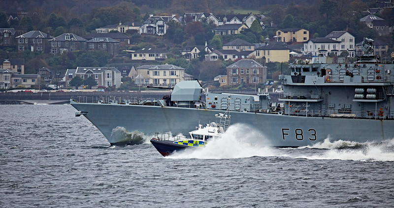 MOD Police Boat 'Lismore' escorting 'HMS St Albans' (F83) off Cloch Lighthouse - 23 October 2017