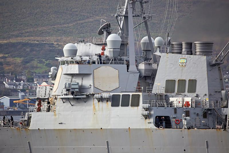 USS McFaul (DDG-74) at Cloch Lighthouse, Gourock - 12 October 2017