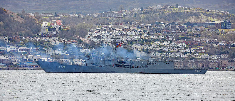 TCG Gediz (F495) anchored at Greenock - 20 April 2018