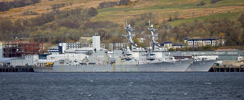 USS Carney (DDG-64) and USS Gravely (DDG-107) at Faslane Naval Base - 13 April 2019