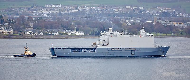 HNLMS Johan de Witt (L801) passing Langbank - 29 March 2019