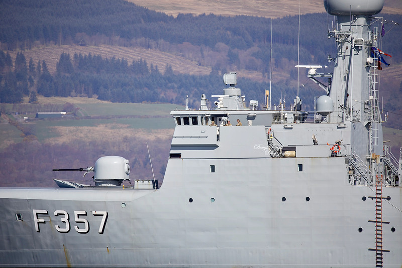 HDMS Thetis (F357) passing Custom House Quay - 31 March 2019