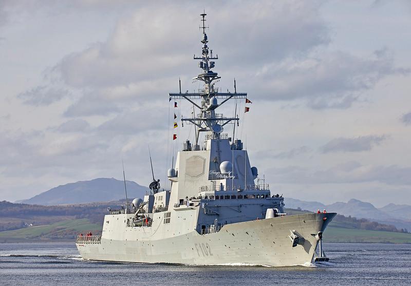 SPS Almirante Juan de Borbon (F102) at Greenock - 28 March 2019