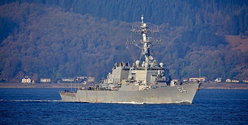 USS Carney (DDG-64) at Cloch Lighthouse, Gourock - 12 April 2019
