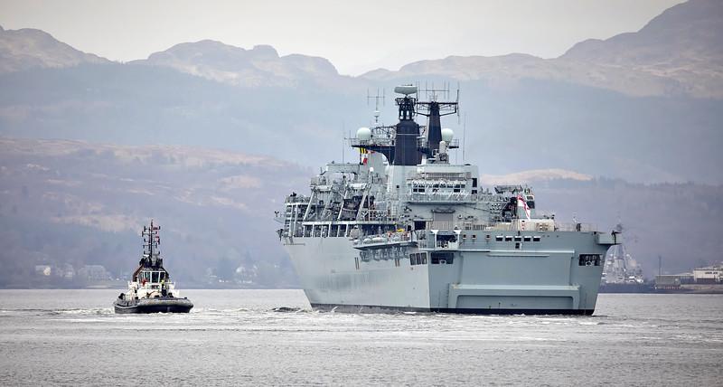 HMS Albion (L14) at Faslane Naval Base - 29 March 2019