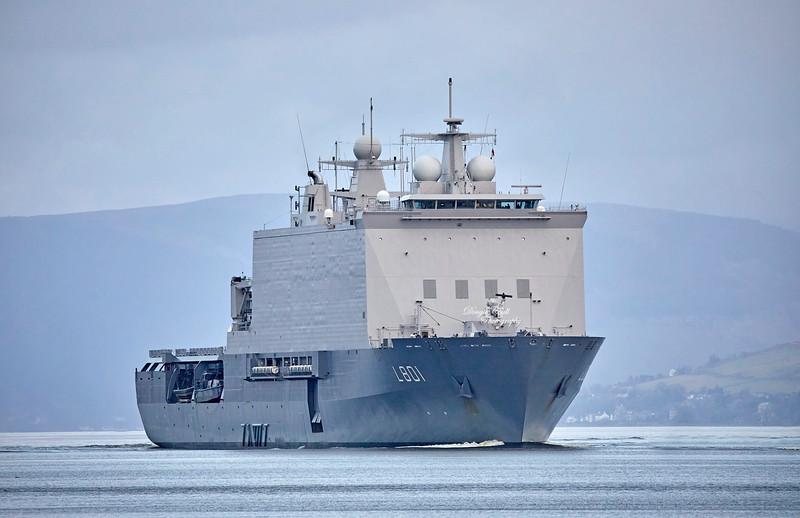 HNLMS Johan de Witt (L801) passing Greenock - 29 March 2019
