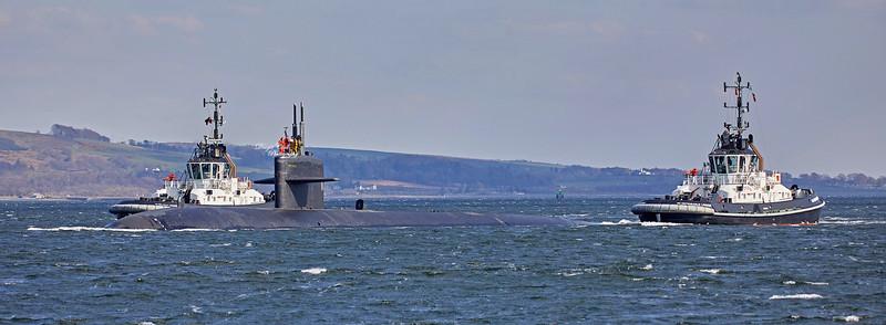 USS Olympia (SSN-717) off Rhu - 13 April 2019
