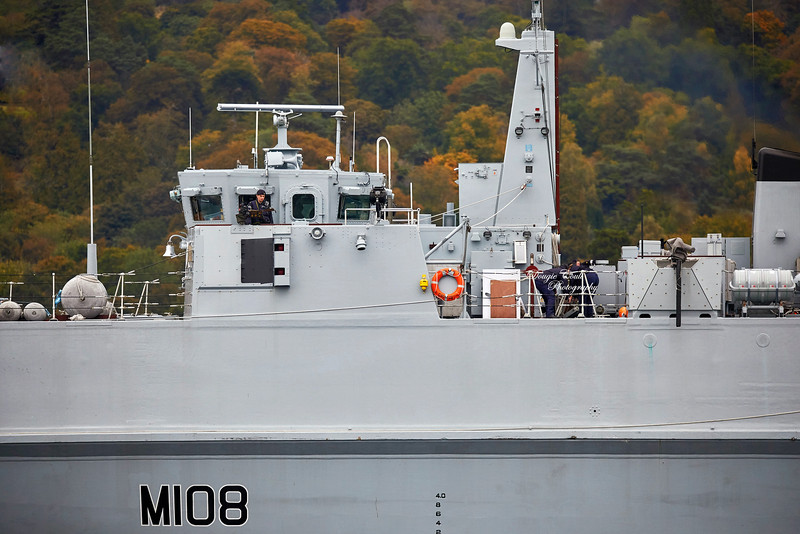 HMS Grimsby (M108) at Faslane Naval Base - 3 October 2019