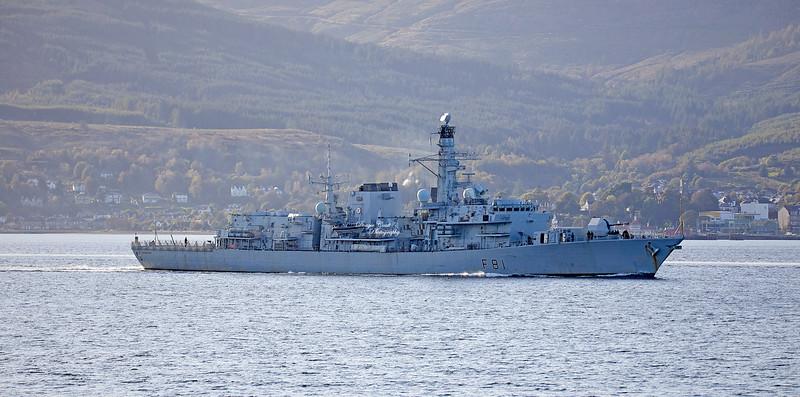 HMS Sutherland (F81) off Cloch Lighthouse - 2 October 2019