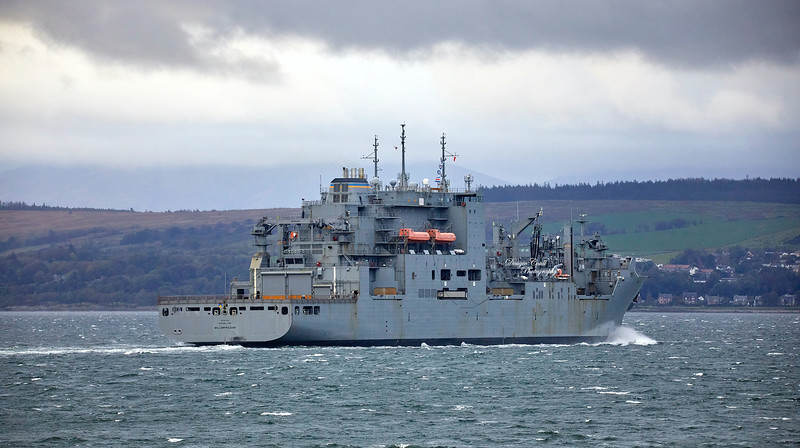 USNS William McLean (T-AKE-12) off Cloch Point, Gourock - 4 October 2019