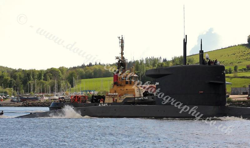 Netherlands Submarine - Walrus Enters Gare Loch, Scotland