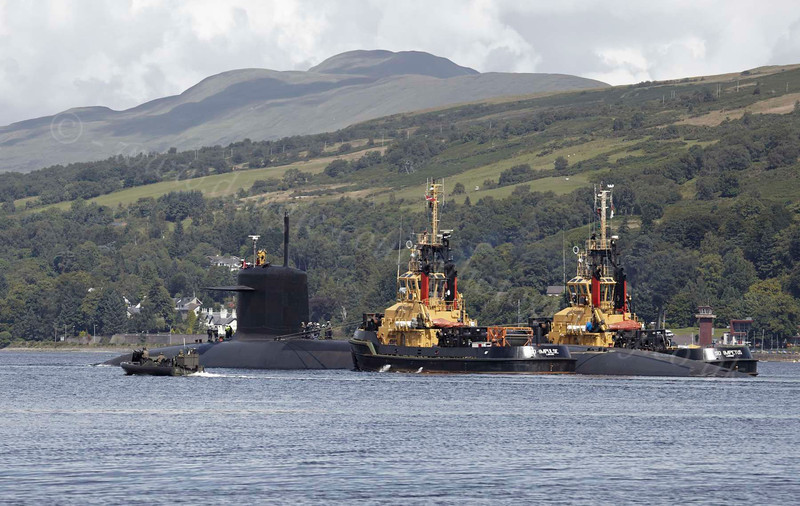 Le Triomphant (S616) Submarine with Escort Tugs - Gareloch - 2 August 2012