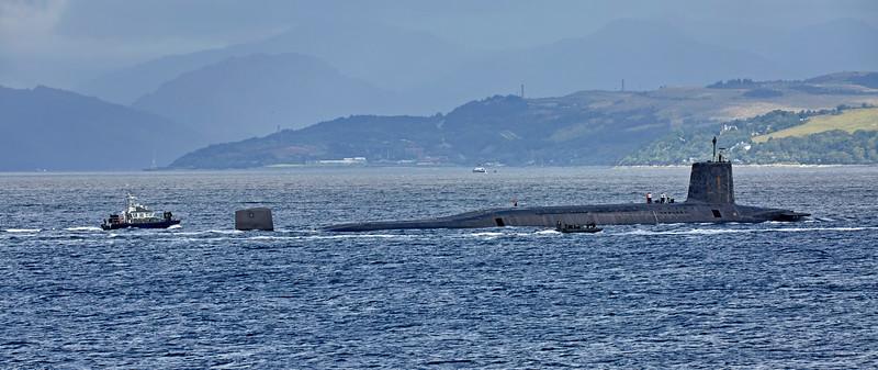Vanguard Class RN Submarine passing Cloch Lighthouse - 26 August 2016