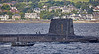 Vanguard Class RN Submarine passing Cloch Lighthouse - 26 August 2016