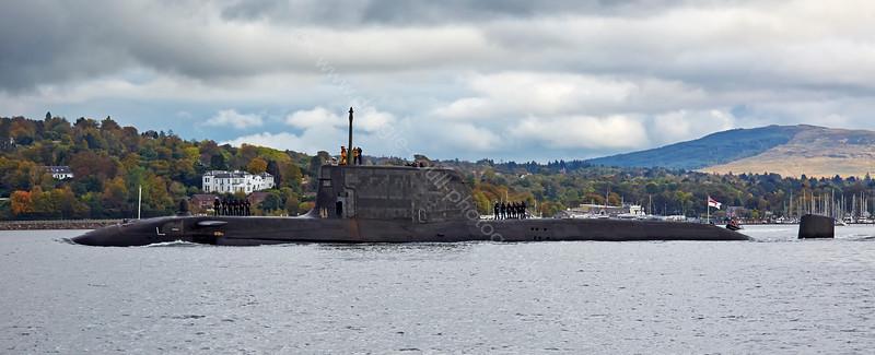 HMS Ambush passing Rhu Spit - 9 October 2014