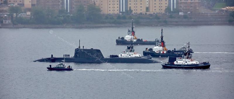 HMS Artful and her entourage at Faslane - 19 August 2015