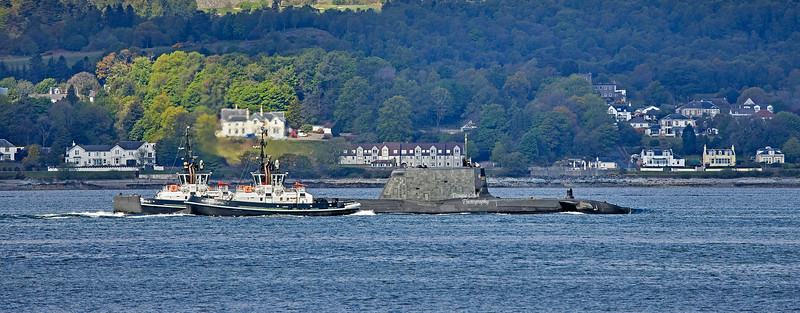 Astute Class RN Submarine off Gourock - 19 May 2021